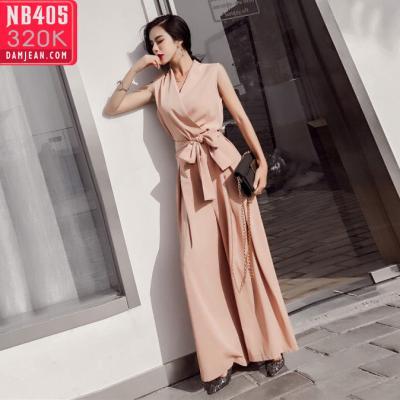 JUMSUIT DÀI ỒNG RỘNG CỔ V THẮT NƠ SANG TRỌNG - NB405