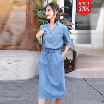 Đầm Jean Cổ Sơ Mi Dây Kéo Rút Eo - NJ207