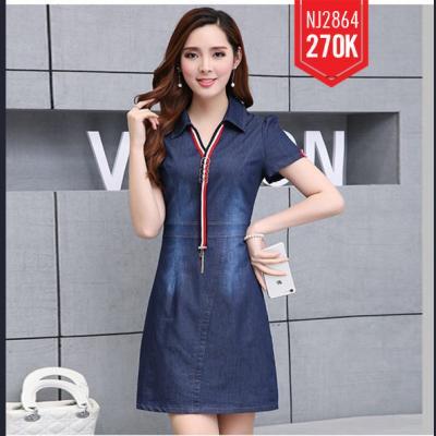 Đầm Jean Cổ Sơ Mi Phối Sọc - NJ264